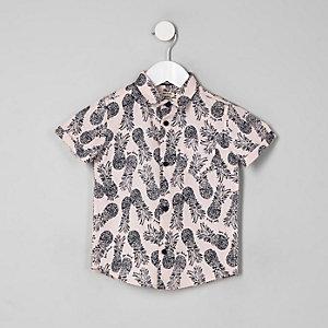 Mini - Roze overhemd met ananasprint en korte mouwen voor jongens