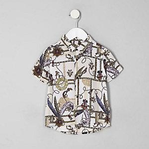 Weißes Button-Down-Hemd mit Barock-Print