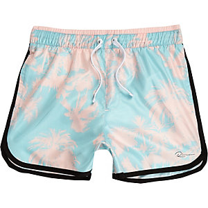 Boys blue palm print swim shorts