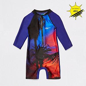 Mini - Blauw zwempak met palmboomprint voor jongens