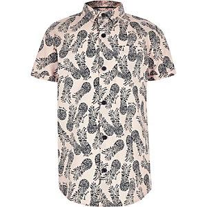 Boys pink pineapple short sleeve shirt