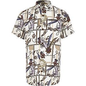 Boys white baroque button-down shirt