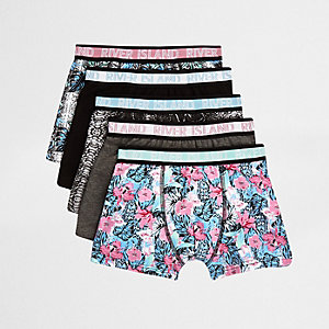 Multipack grijze boxershorts met bloemenprint voor jongens