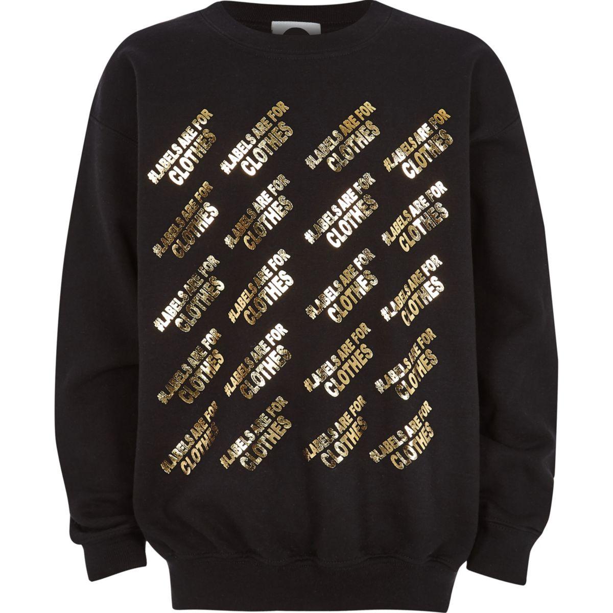 Kids black Ditch the Label charity sweatshirt