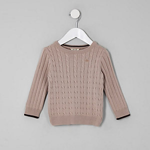 Mini boys pink cable knit tipped jumper