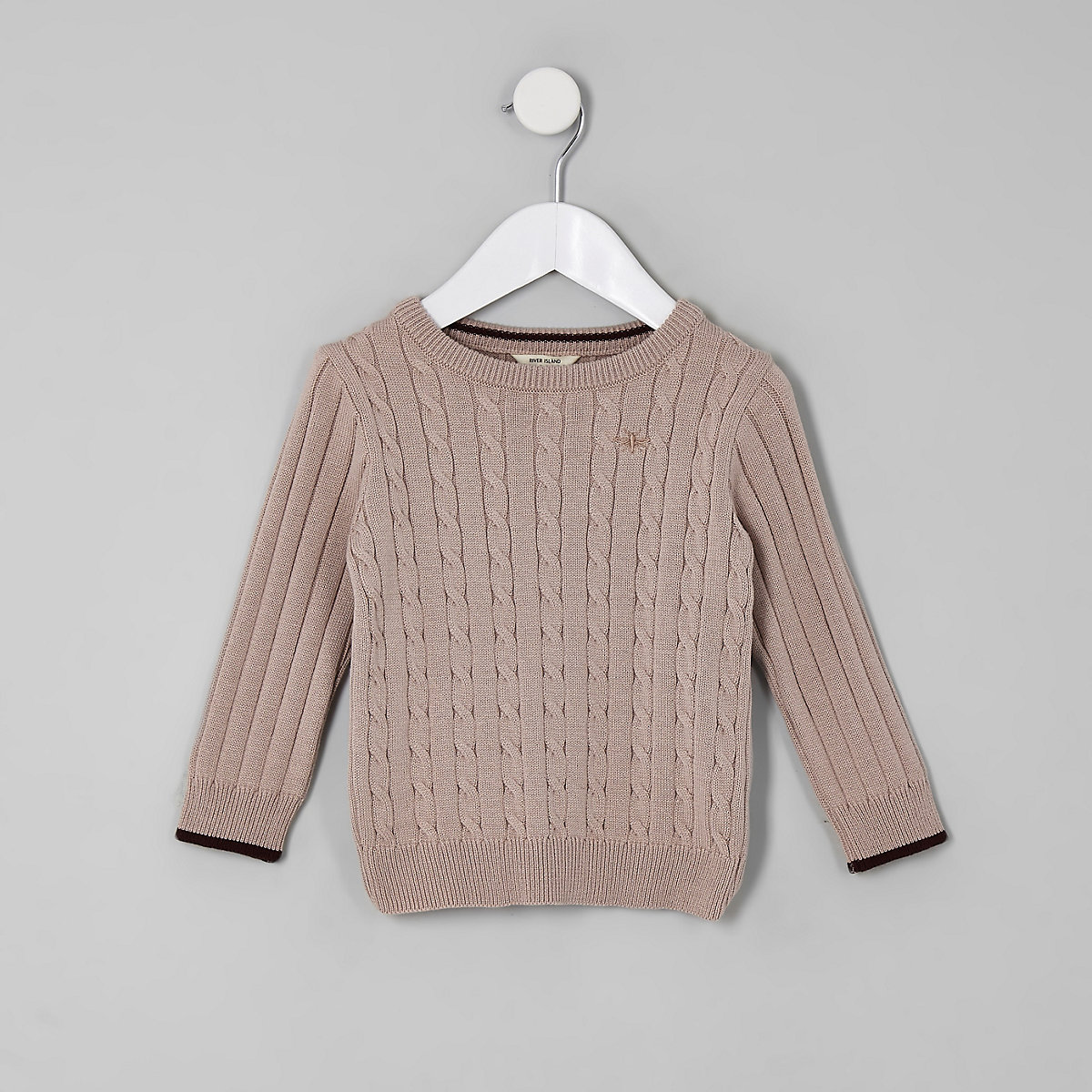 Mini boys pink cable knit tipped sweater