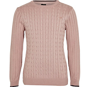 Boys pink cable knit tipped sweater