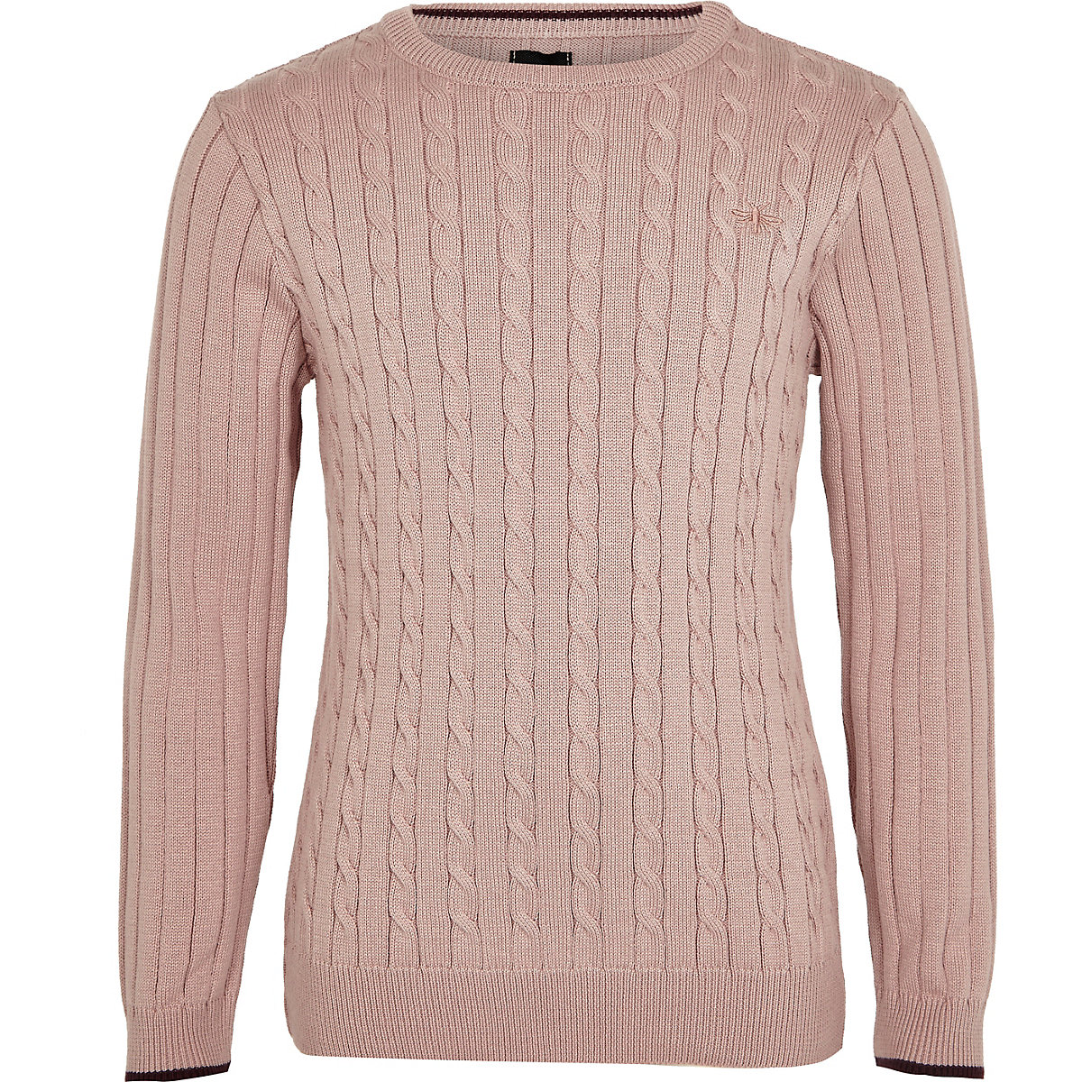 Boys pink cable knit tipped jumper