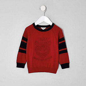 Mini boys red 'King of style' knit sweater