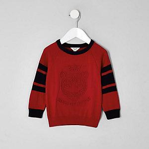 Mini - Rode gebreide pullover met 'King of style'-print voor jongens