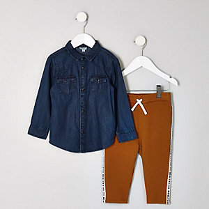 Mini boys denim shirt and jogger outfit