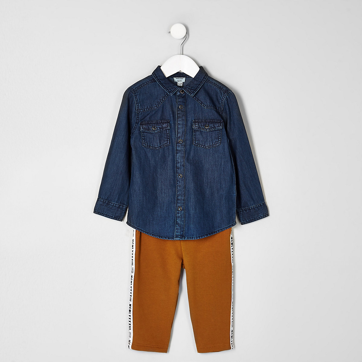 a75d94236 Mini boys denim shirt and jogger outfit - Baby Boys Outfits - Mini ...