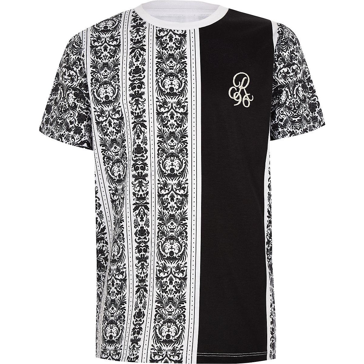 Boys baroque print 'R96' print T-shirt
