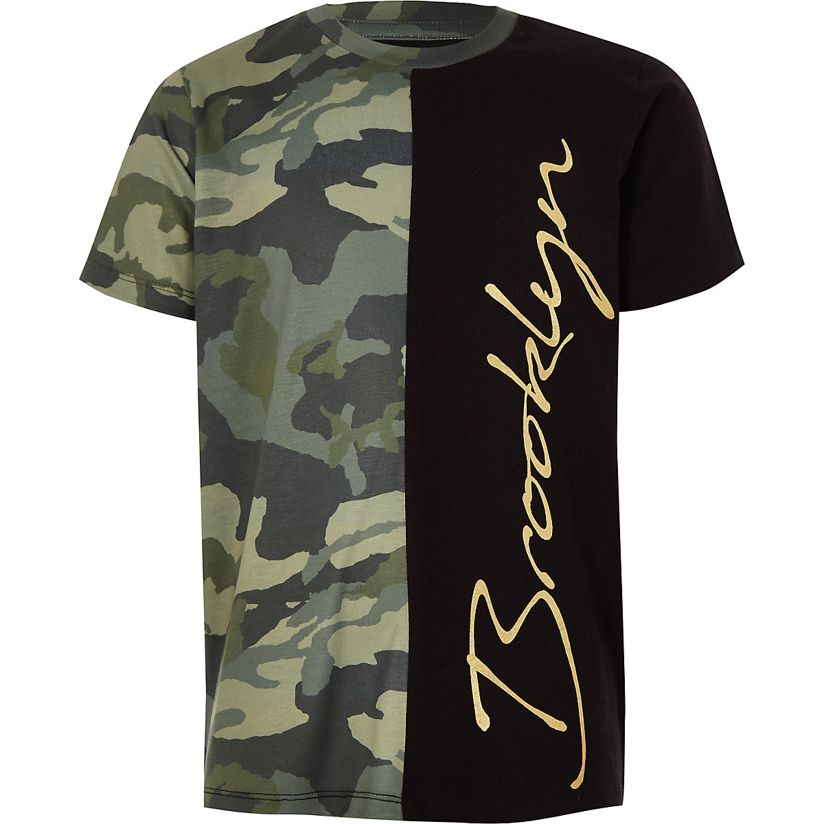 Boys khaki camo 'Brooklyn' T-shirt