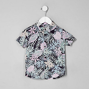 Mini boys pink floral short sleeve shirt