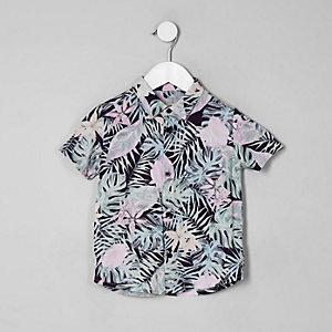 Mini - Roze gebloemd overhemd met korte mouwen voor jongens