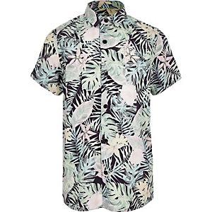 Chemise manches courtes à fleurs rose pour garçon