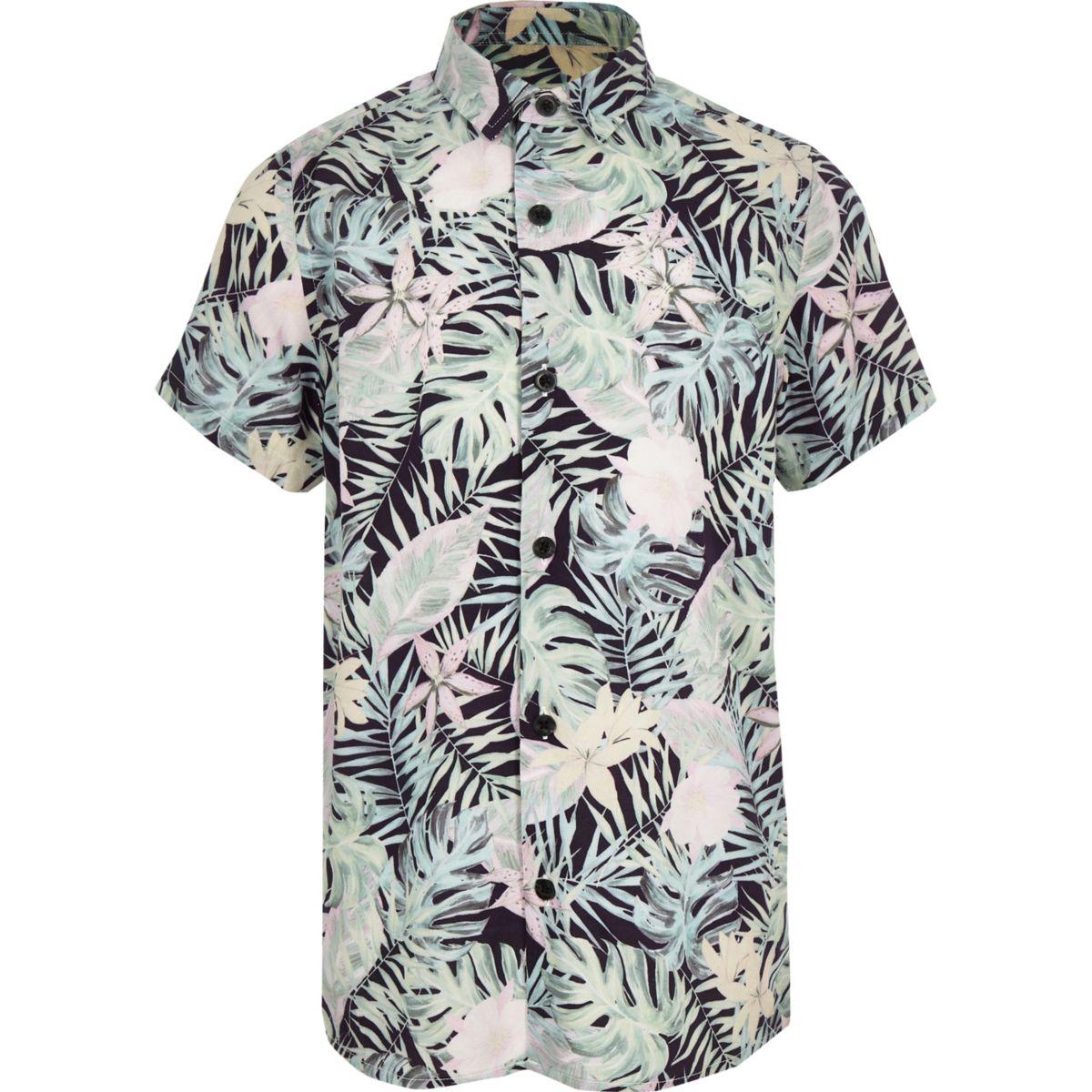 Boys pink floral short sleeve shirt