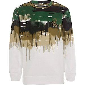 Wit sweatshirt met camouflage- en 'R96'-print voor jongens