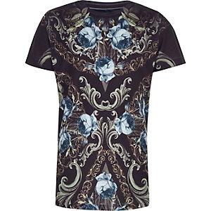Marineblauw T-shirt met ronde hals en bloemenprint voor jongens