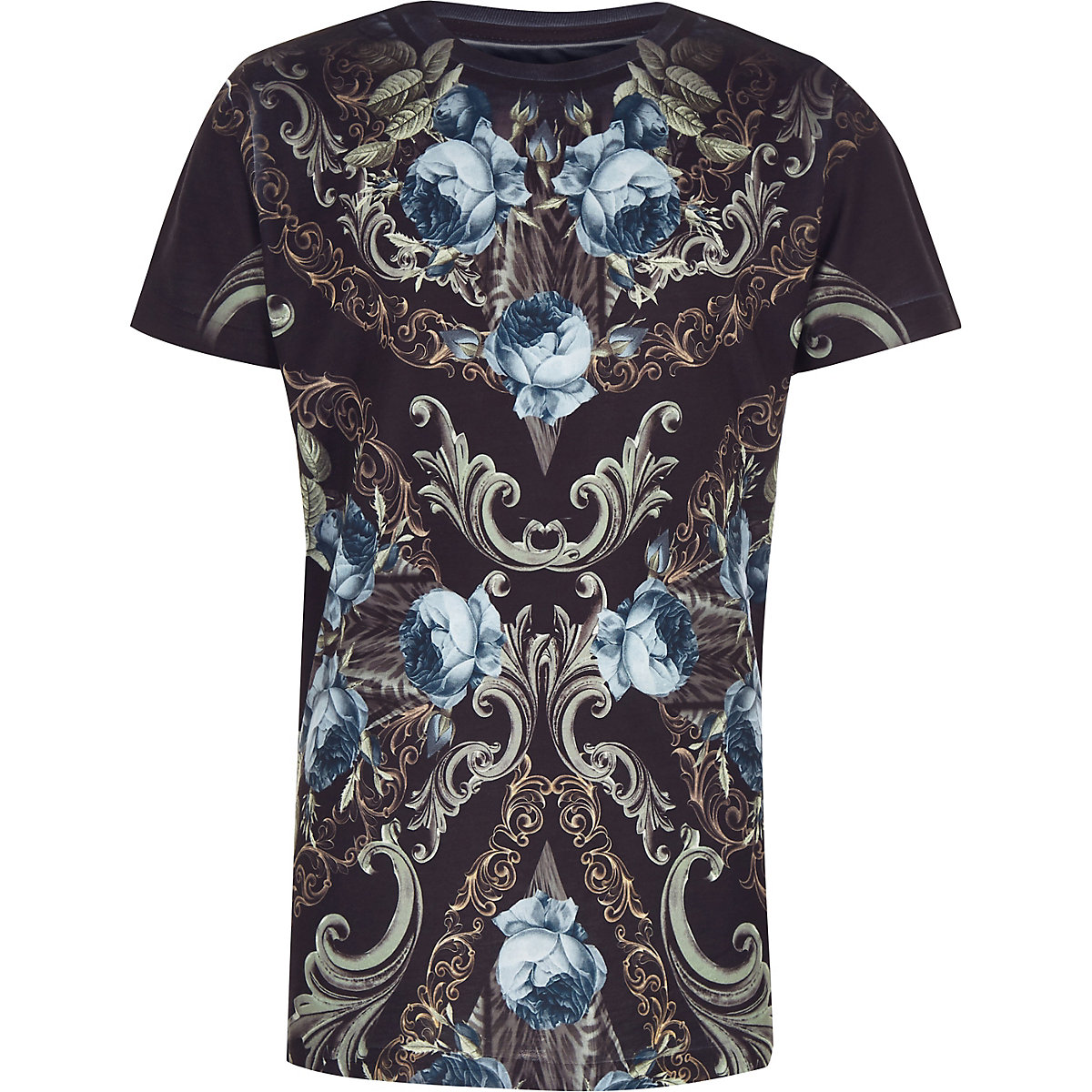 Boys navy floral print crew neck T-shirt