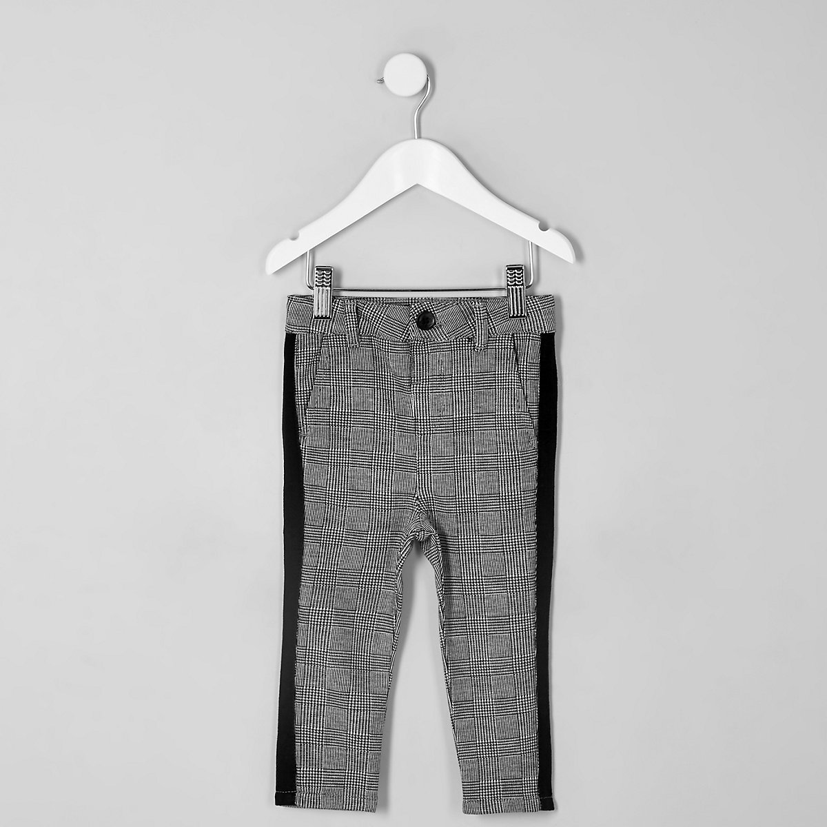 Mini boys grey check tape trousers