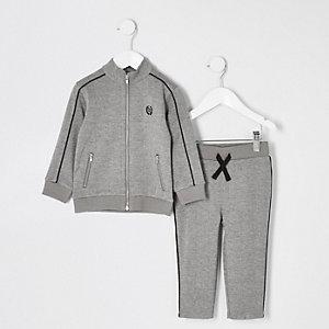 Mini boys grey check jogger outfit