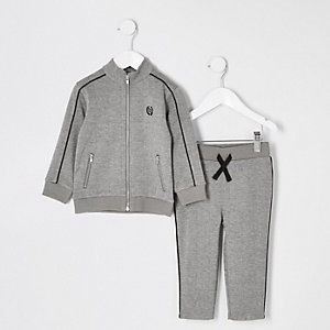 Mini boys grey check jogger outfit