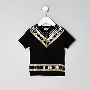 Mini boys black 'Carpe Diem' foil T-shirt
