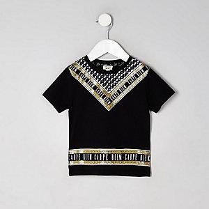 T-shirt «Carpe Diem» métallisé noir mini garçon
