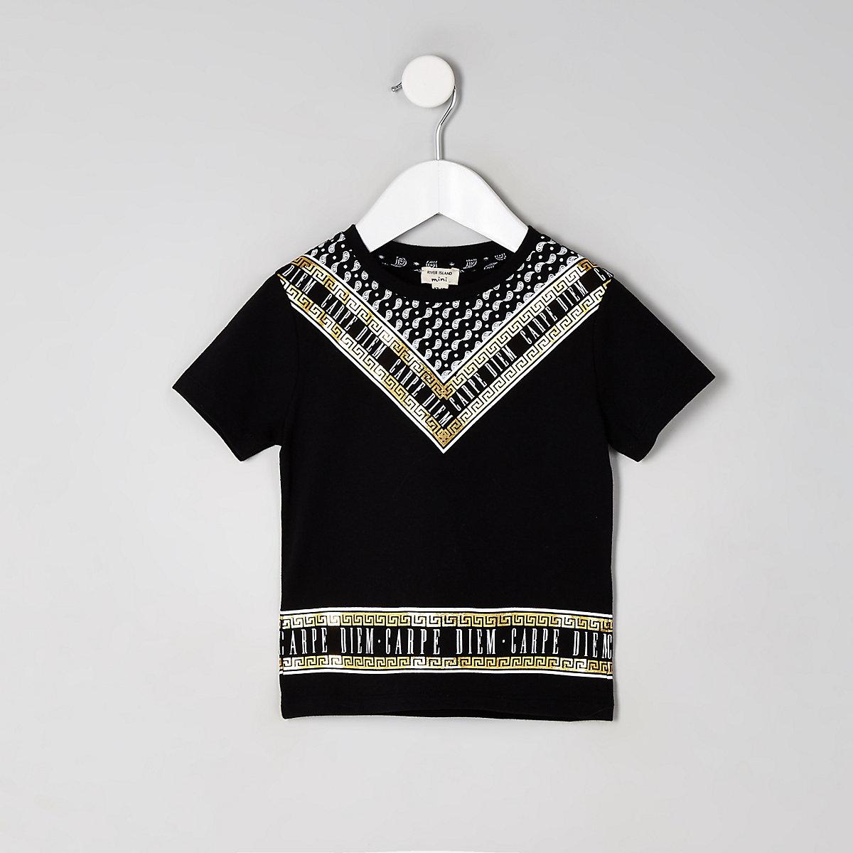 Mini boys black 'Carpe Diem' foil T-shirt