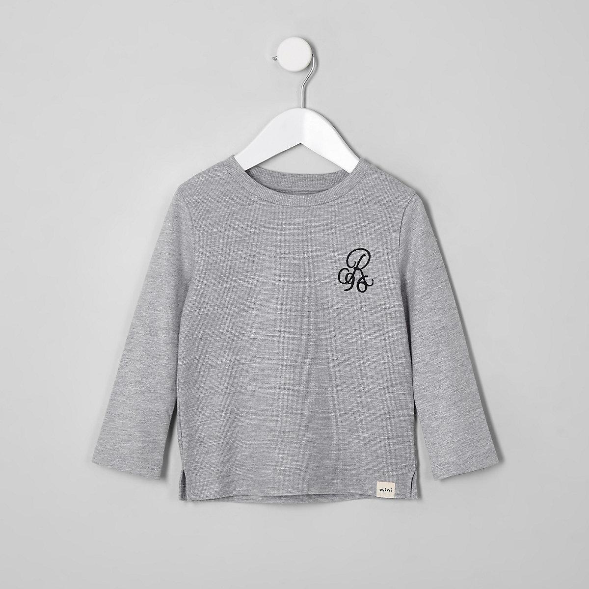 Mini boys grey waffle long sleeve top