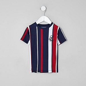 T-shirt à rayures verticales bleu marine «R96» mini garçon