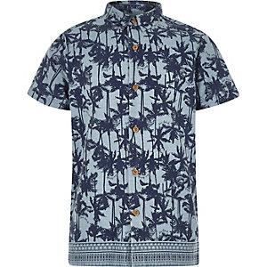 Boys blue palm print shirt