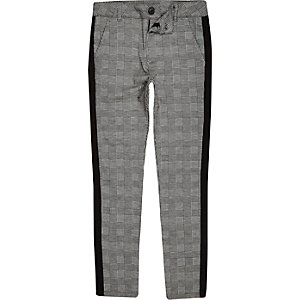Boys grey check tape pants