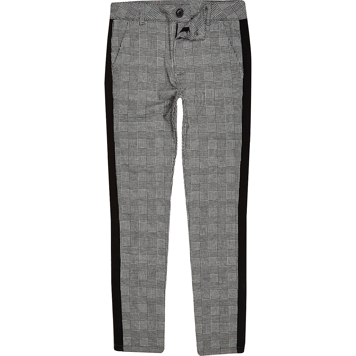 Boys grey check tape pants