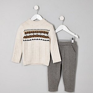 Mini boys ecru fairisle jumper outfit
