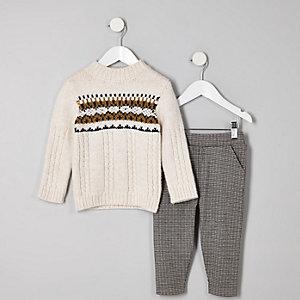 Mini - Outfit met ecrui pullover met fairisle-print voor jongens