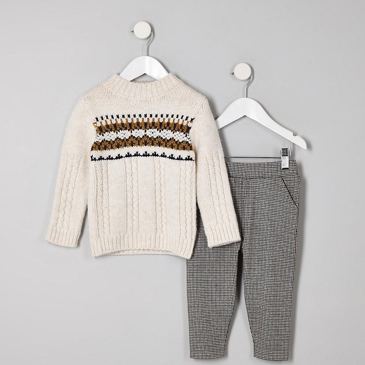 Mini boys ecru fairisle jumper outfit