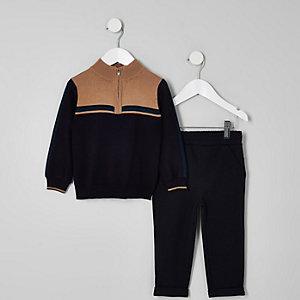 Mini - Outfit met ecru trainingsjack voor jongens