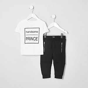 Ensemble avec t-shirt à inscription « Handsome » blanc mini garçon