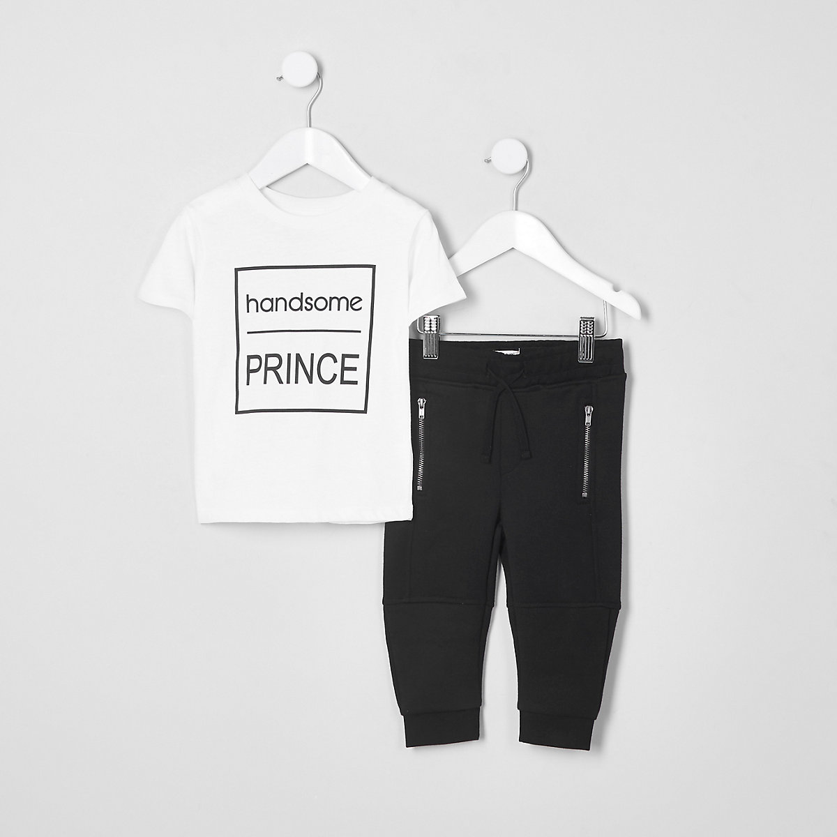 Mini boys white 'handsome' T-shirt outfit
