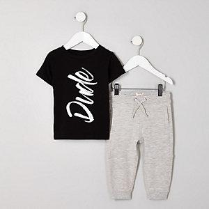 Mini - Zwarte T-shirtoutfit met 'dude'-print voor jongens