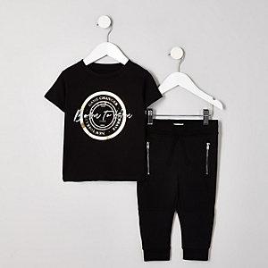 Mini - Zwart T-shirtoutfit met 'born to win'-print voor jongens