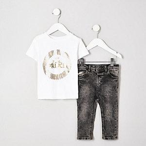 Ensemble avec t-shirt à imprimé métallisé « Little prince » mini garçon