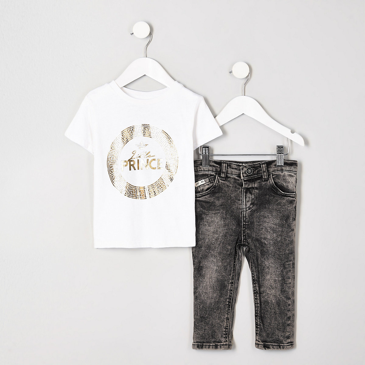 Mini boys 'little prince' foil T-shirt outfit