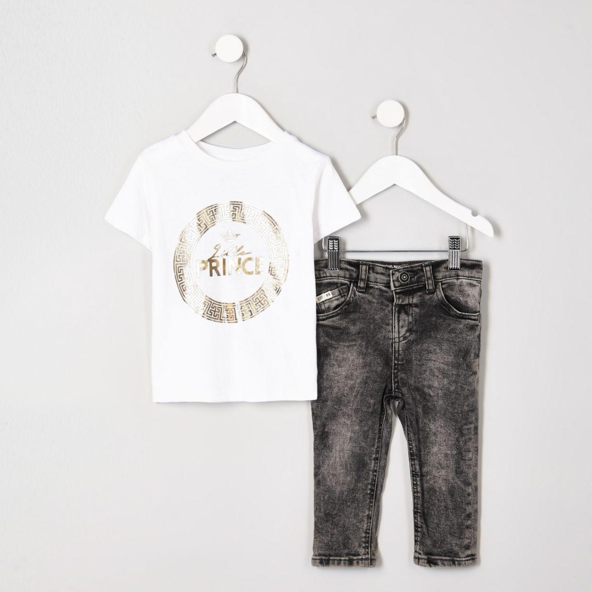 Mini boys 'little prince' foil T-shirt outfit