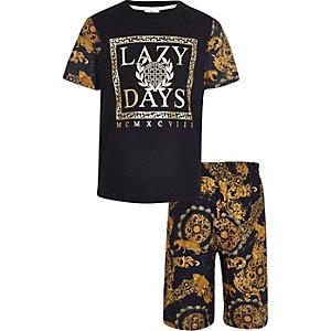 Schwarzes Pyjama-Set mit Barock-Print