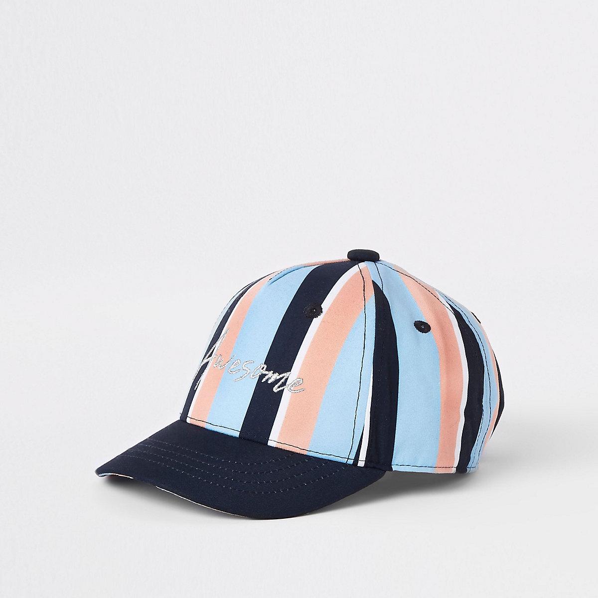 Mini boys blue pastel stripe cap