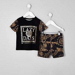 Schwarzes Pyjama-Set mit Print
